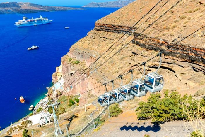 Funivia Santorini dal porto a Fira